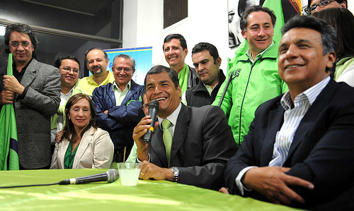 Ecuador's President Rafael Correa celebrates after winning the country's referendum.