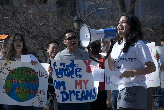Melissa Garcia Velez addressing the crowd in Union Square, New York City, on March 18.
