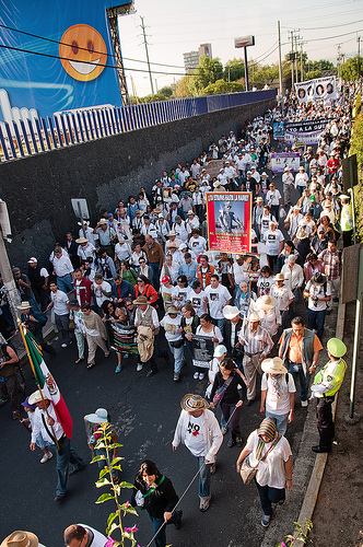 Mexico's National March for Peace arrived in the country's capital of Mexico City on Sunday..