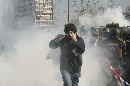 Tear gas in Chile. Photo by cÁmARa AccióN.