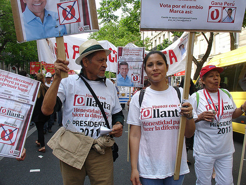 Supporters of Ollanta Humala during a march.