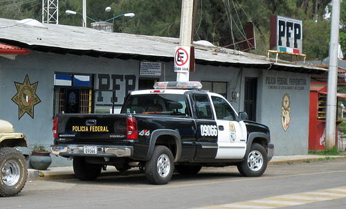 A Mexcian Federal Police truck.