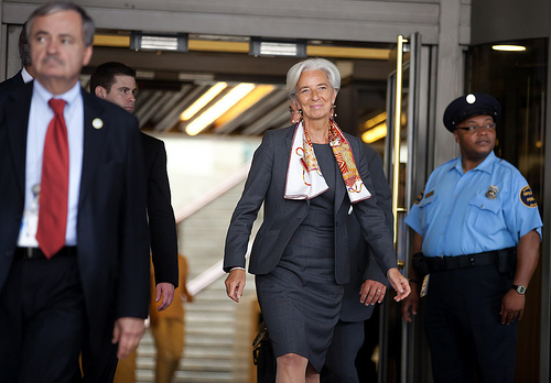 French Finance Minister Christine Lagarde leaves IMF headquarters in Washington D.C.