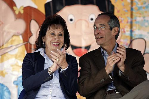 Guatemala's First Lady Sandra Torres next to former husband President Álvaro Colom.