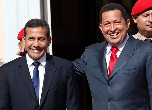Peruvian President Ollanta Humala with Hugo Chávez during a recent visit to Venezuela.