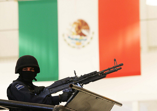 A Mexcian soldier during a presentation.