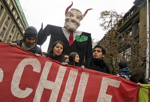 Student protesters in Chile.