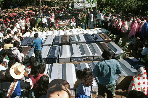 Mourners in the aftermath of the 1997 Acteal massacre.