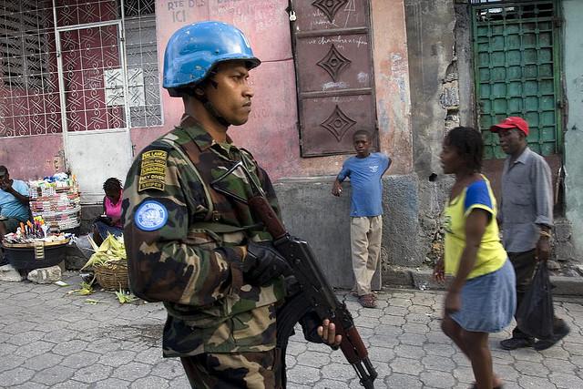 UN Peacekeepers Patrol Port-au-Prince Slum