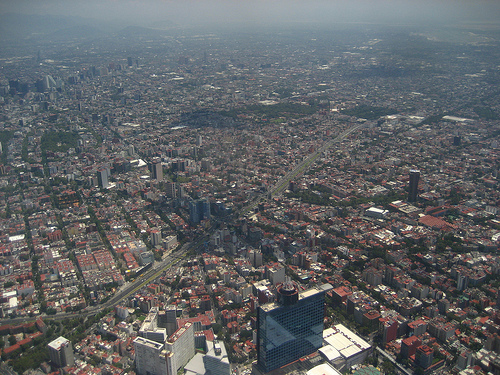 An aerial shot of Mexico City.