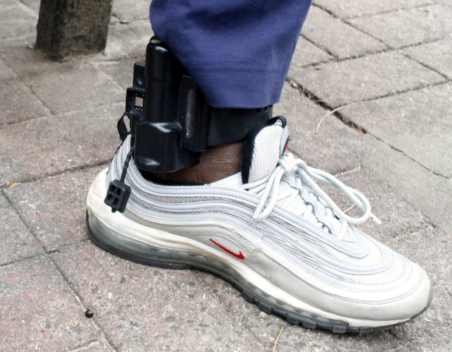 Eva's electronic monitoring device has been strapped to her ankle since July 15, 2014.