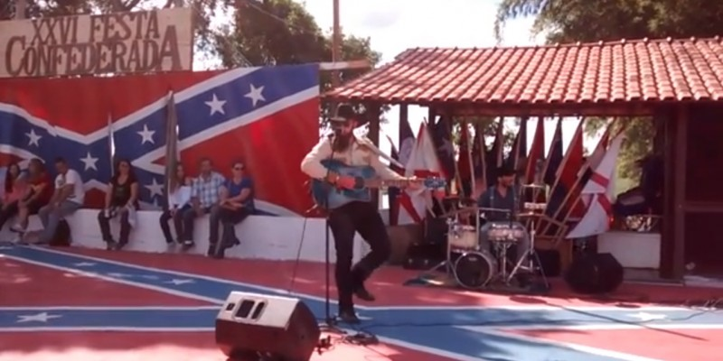 Singer Johnny Voxx performs at the 2014 Confederate Festival in Americana, Brazil. (YouTube, screenshot)