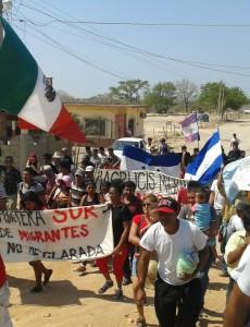 Viacrucis participants march through Chahuites, Mexico. (Photo by author)