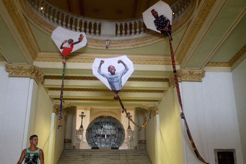 """The entrance of the National Museum of Fine Arts features pieces from the """"Wild Noise"""" exhibition, a collaboration between New York's Bronx Museum of the Arts and Havana's National Museum of Fine Arts."""
