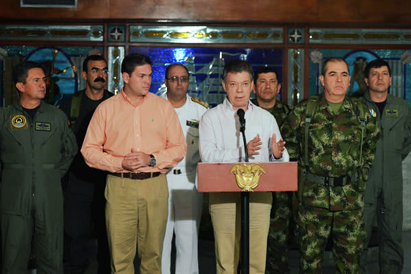 Colombian President Juan Manuel Santos during an October press conference in which he addressed the delays in reaching a peace agreement. (Image: César Carrión, Government of Colombia)
