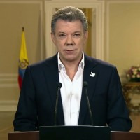 Colombian President Juan Manuel Santos during a July televised address on the peace talks with the FARC. (Image: Colombian Government)
