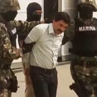 "Joaquín ""El Chapo"" Guzmán, during 2014 arrest (Image: CNN, screenshot)"