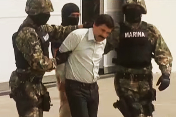 "Joaquín ""El Chapo"" Guzmán, during 2014 arrest (Image: CNN, screenshot)"