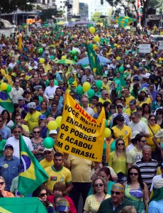 Protesters on Sunday in the southern Brazilian city of Curitiba