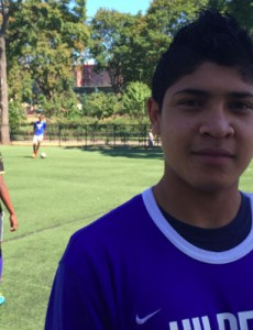 Cristian Contreras plays on a soccer team largely comprised of other unaccompanied minors. Credit: Nicki Fleischner.