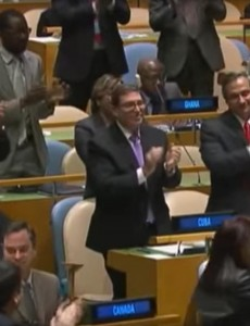 The result of Tuesday's vote condemning the U.S. embargo on Cuba was met with a standing ovation. (Image: YouTube, screenshot)