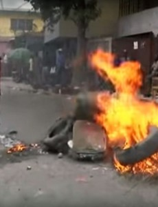 Protests in Port-au-Prince, Haiti, over likely corruption in the first round of presidential elections. (Image: YouTube)