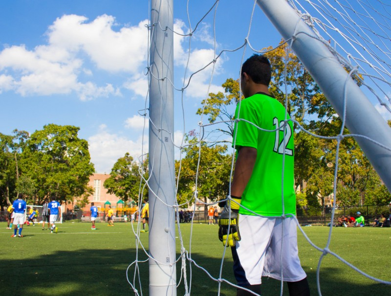 Young migrants from Central America gather every Saturday to play soccer in the Bronx. (Image: Katie Schlechter)