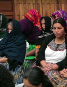 Maya-Q'eqchi victims at the opening of Monday's trial (Image: Prensa Libre TV)
