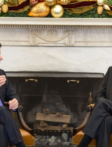 Presidents Juan Manuel Santos and Barack Obama during a 2013 bilateral meeting. (Image: White House, public domain)