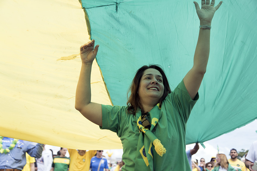 """Vanisa Machado, 42, attended the march on Sunday. """"I want Brazil to get back on track,"""" she said."""