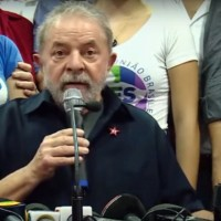 Former Brazilian President Luiz Inácio Lula da Silva during a press conference on Friday, following his release from police custody. (Image: Rede TVT, screenshot)