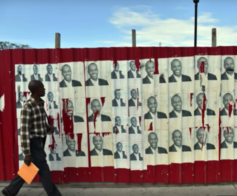 Campaign posters in Haiti. (Image: Youtube, screenshot)