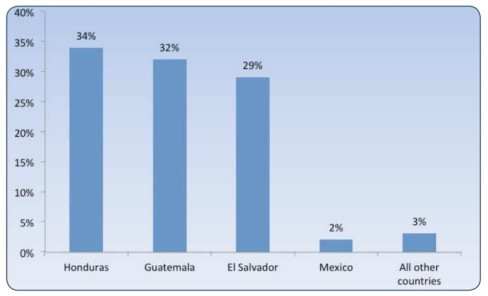 Countries of origin for unaccompanied child migrants placed into ORR custody from October 2013 through September 2014. Ninety-five percent of these young migrants came from Guatemala, El Salvador and Honduras. (Image: ORR Annual Report to Congress, FY 2014)