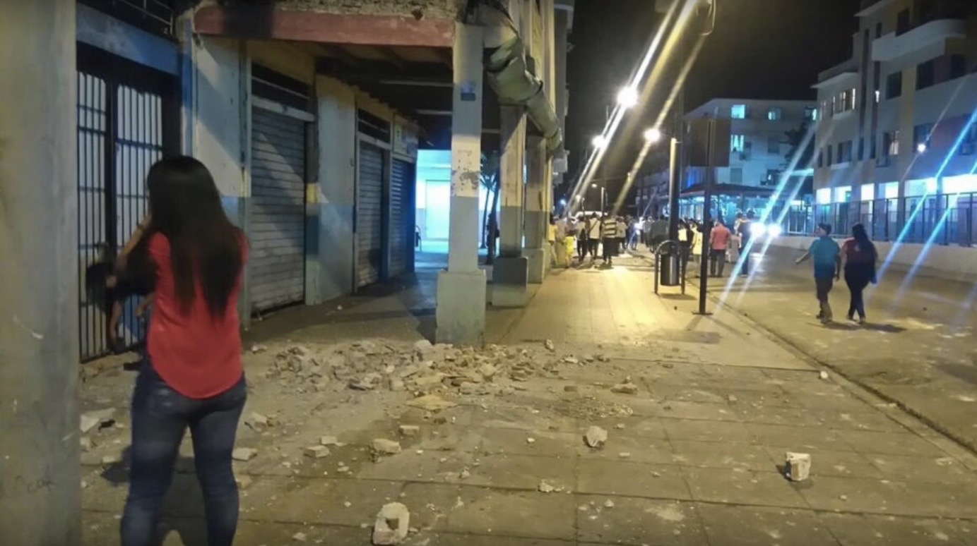 Damage from a 7.8-magnitude earthquake that rocked Ecuador over the weekend. (Image: YouTube)