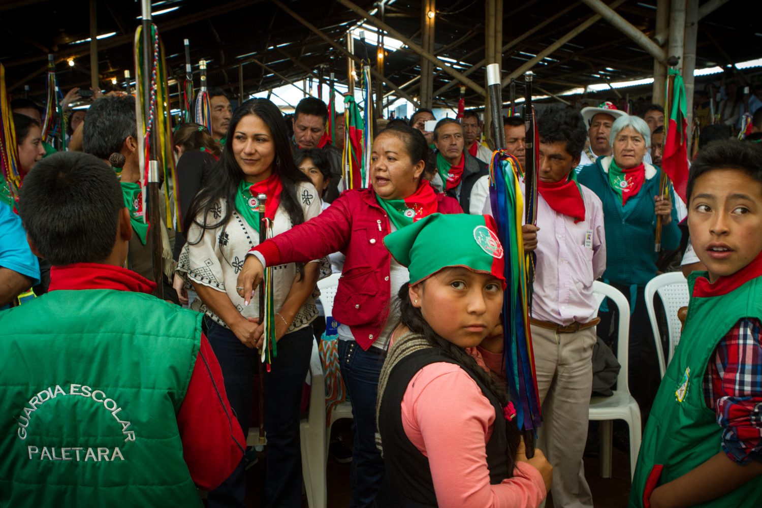 Indigenous community members convene in La Maria, Cauca, to receive the peace delegates after finalizing the peace accord in Havana.