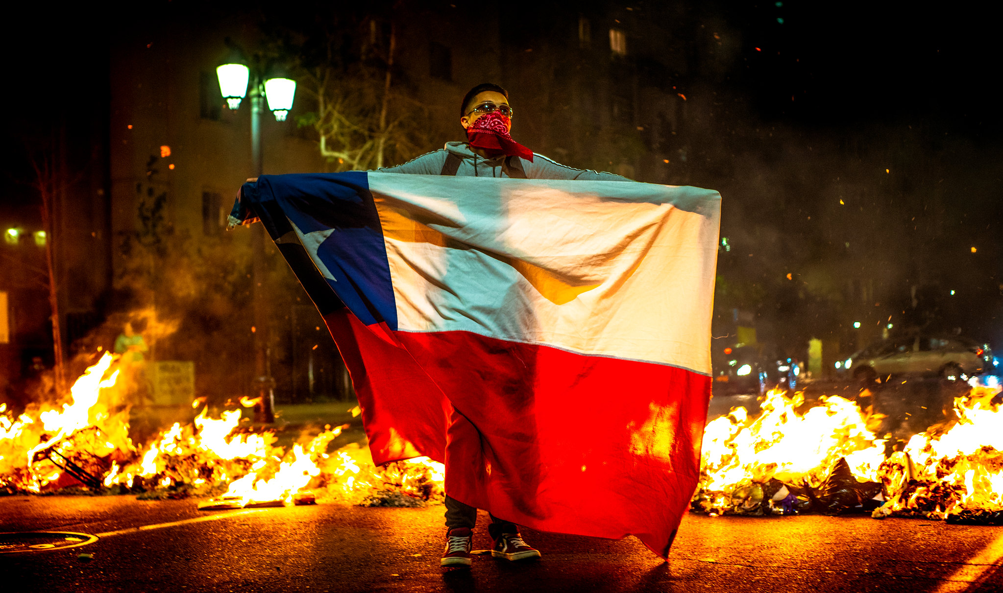Protester in Chile, 2019